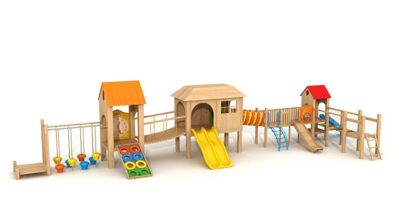 现代木质小滑梯 滑梯组合