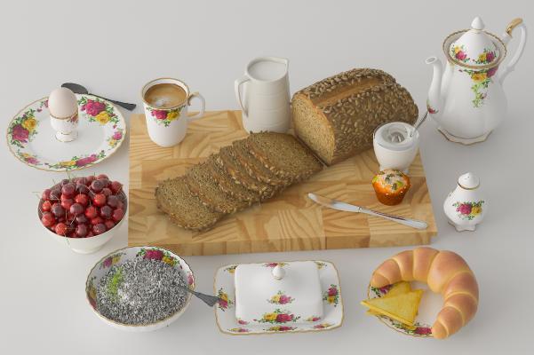 现代食物组合 面包