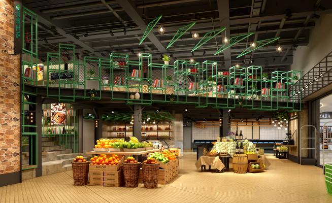 现代超市 水果摊 酒桶