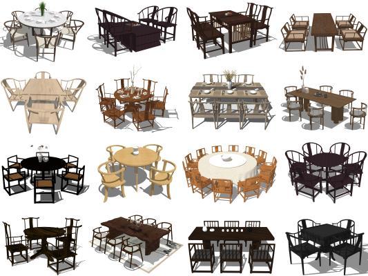 新中式餐桌椅 圆桌 八仙桌