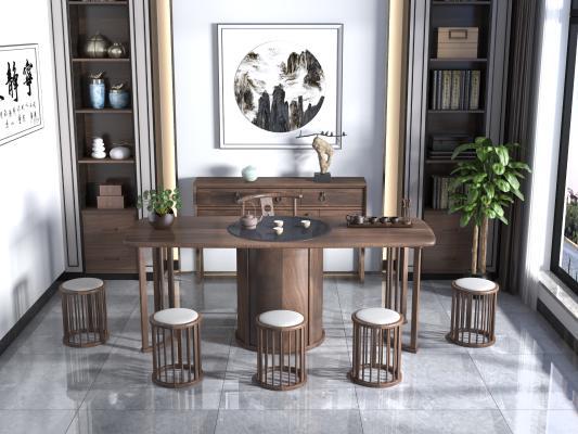 新中式茶桌 茶室 茶桌椅