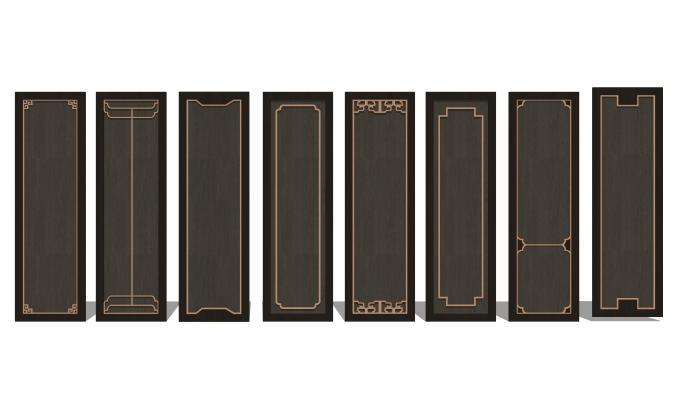 新中式衣柜门板组合
