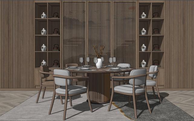 新中式圆形餐桌椅
