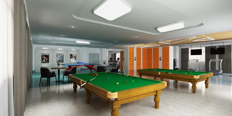 现代健身房 活动室 带台球兵乒球