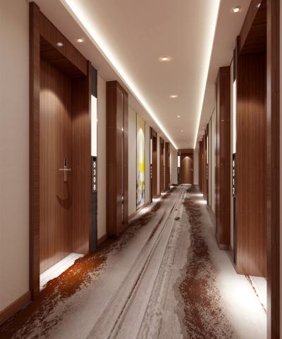 新中式酒店过道 走廊