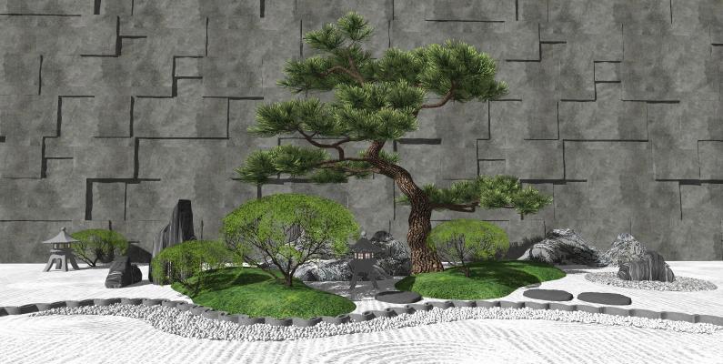 新中式景观小品 泰山石松树 禅意景观