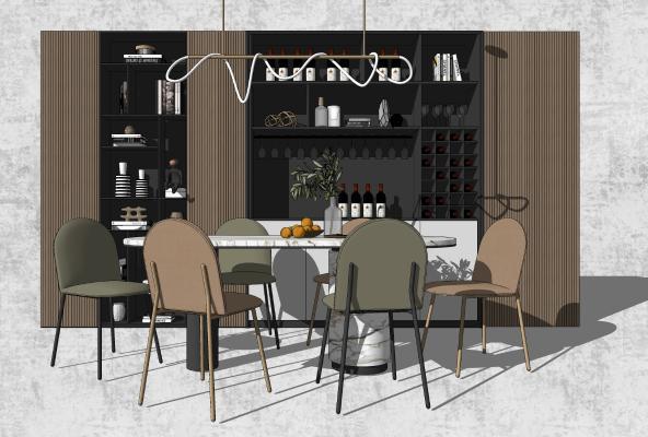 现代餐桌椅 酒柜组合