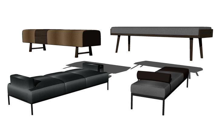 现代床尾凳组合
