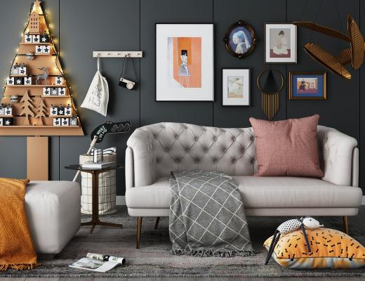 北欧双人沙发 挂画组合