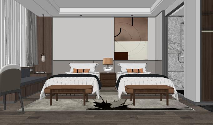 新中式酒店客房 标准间