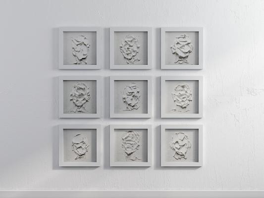 现代黑白灰艺术立体挂画组合
