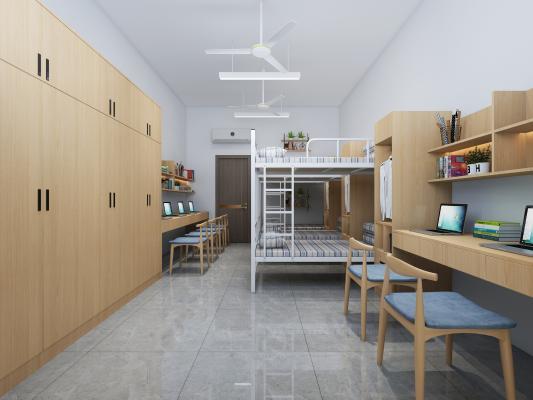 现代学校宿舍 吊灯 书柜