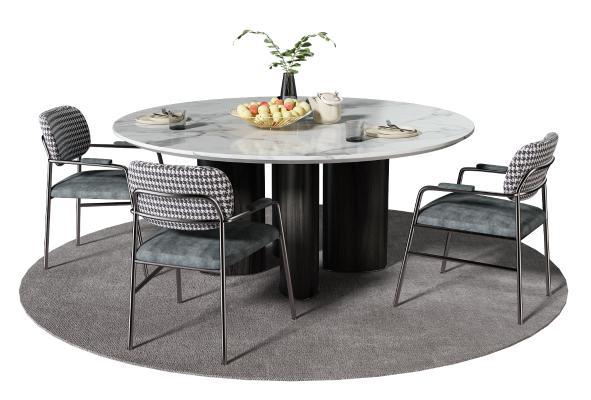 现代餐桌椅组合 圆形餐桌 轻奢单椅
