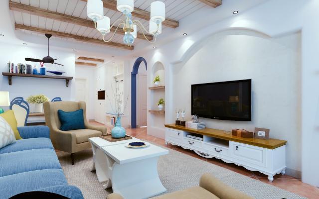 地中海客餐厅 沙发 桌椅 鞋柜