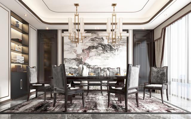 新中式餐廳 餐桌 餐椅