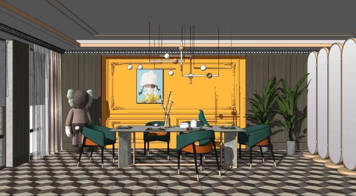 现代餐厅 餐桌椅 KAWS娃娃