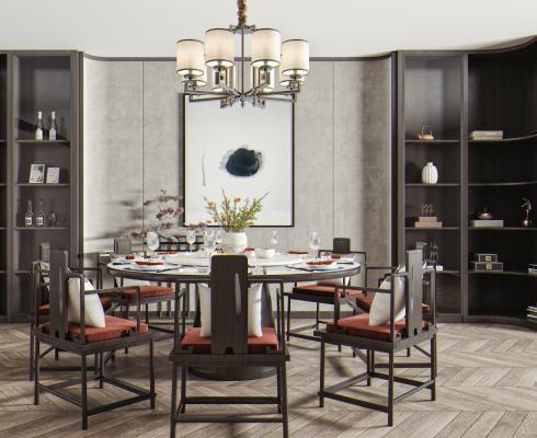 新中式餐桌椅�M合 餐桌 餐椅