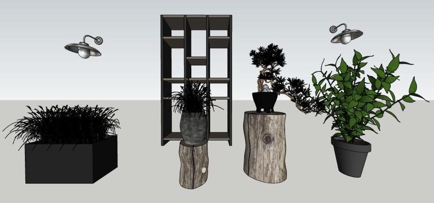 现代风格盆栽 植物 树墩 壁灯组合