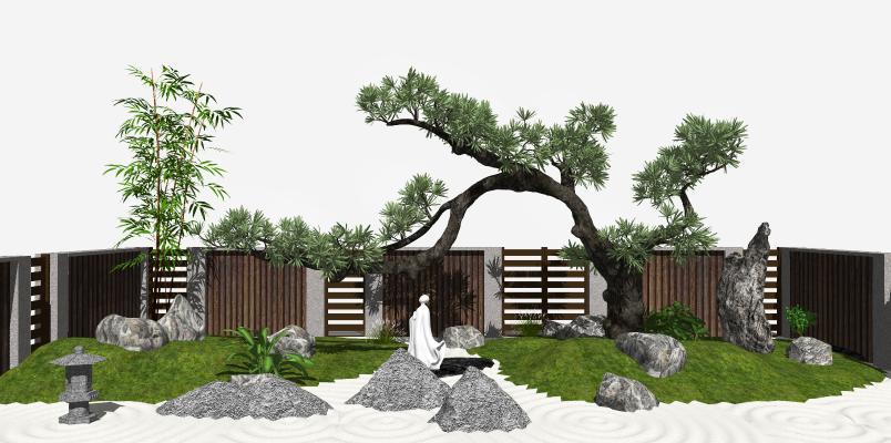 日式枯山水庭院 景观小品 景观树
