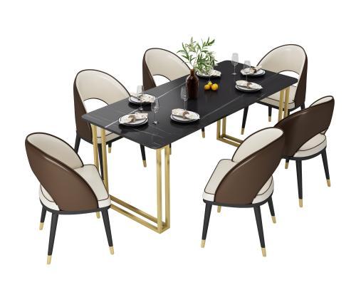 现代轻奢岩板餐桌皮革餐椅