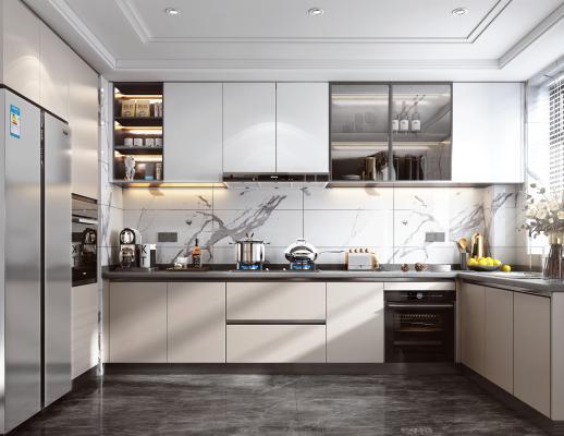 现代风格厨房 橱柜 油烟机 燃气灶