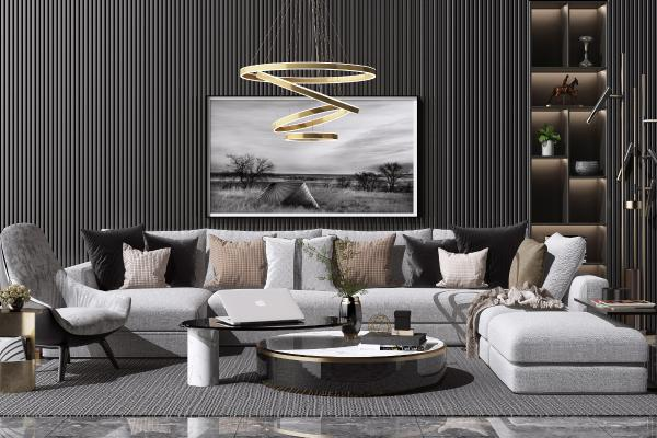 现代布艺转角沙发 茶几组合 休闲椅子 吊灯