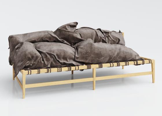 日式实木布艺双人沙发