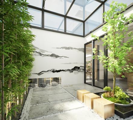 新中式庭院花园 绿植 竹子