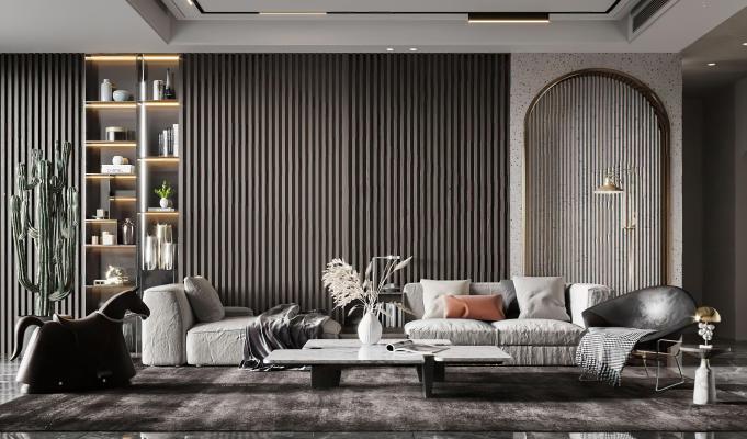 现代客厅 沙发 茶几