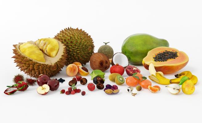 现代水果组合 榴莲 哈密瓜