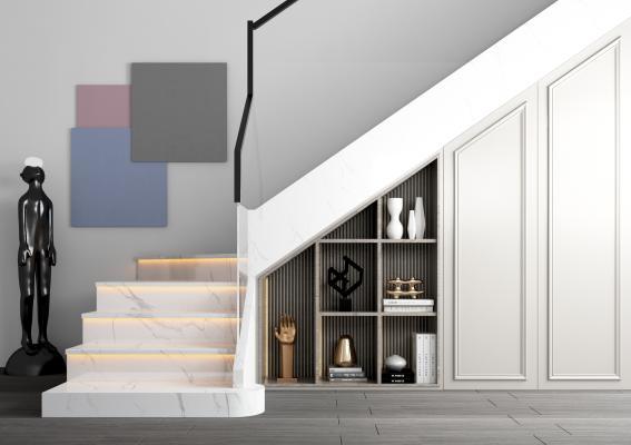 现代楼梯 储物柜 装饰画