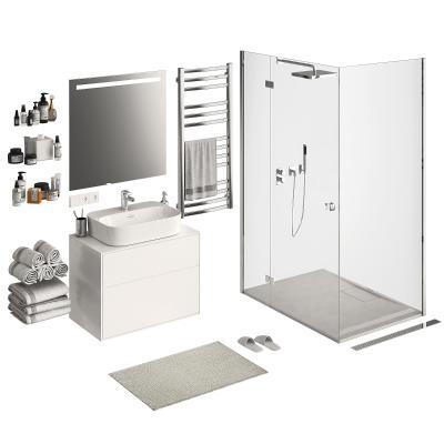 现代浴室柜架 台盆 淋浴室