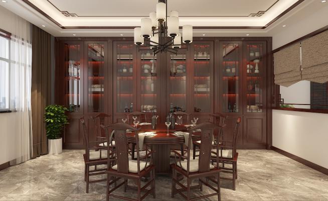 中式風格餐廳 客廳
