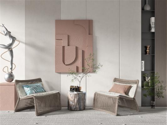 侘寂风格单椅 墙饰 人物雕塑
