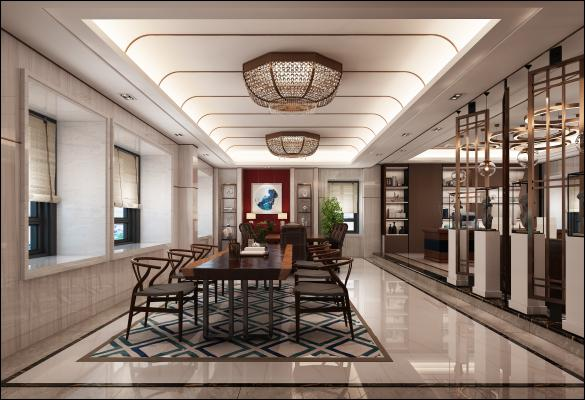 新中式茶艺展厅 茶桌 吸顶灯