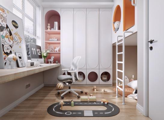 现代儿童房 儿童床 装饰柜