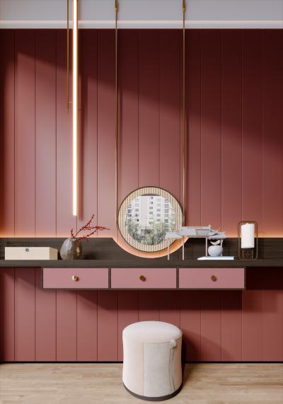 新中式梳妆台 植物盆栽 壁灯 化妆品 矮凳 藤编镜子 小鸟
