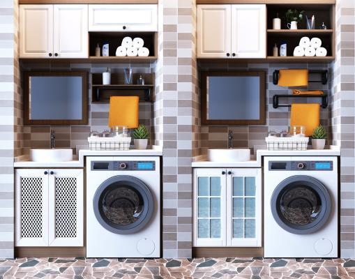 现代阳台洗衣机 储物橱柜