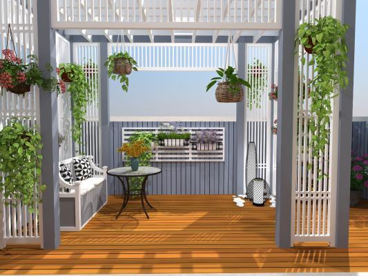 北欧风格别墅露台 花架 廊架