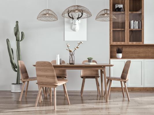 北欧餐厅 餐桌椅 吊灯