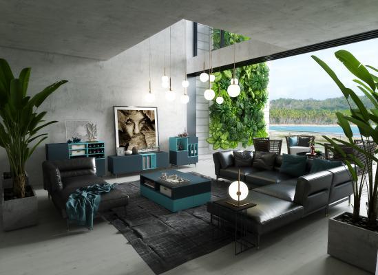 现代海景轻奢客厅 转角多人沙发 户外椅