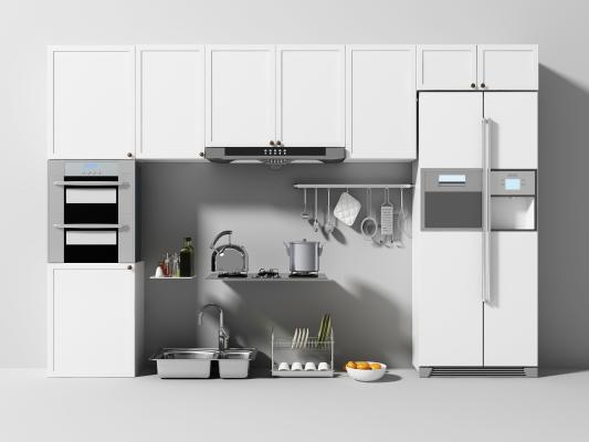 现代厨房 橱柜 厨具 燃气灶 冰箱
