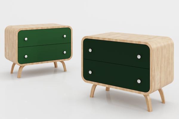 现代实木边柜
