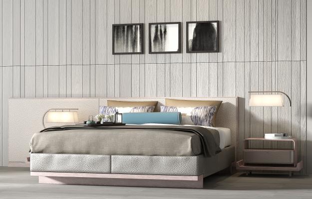 现代轻奢布艺双人床床头柜饰品组合