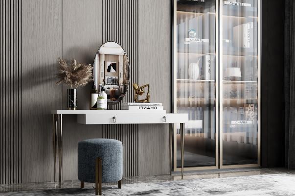 现代梳妆台 凳子 玄关柜 书桌 书柜 装饰品