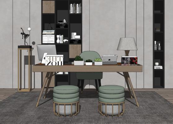 现代书房 书桌椅组合