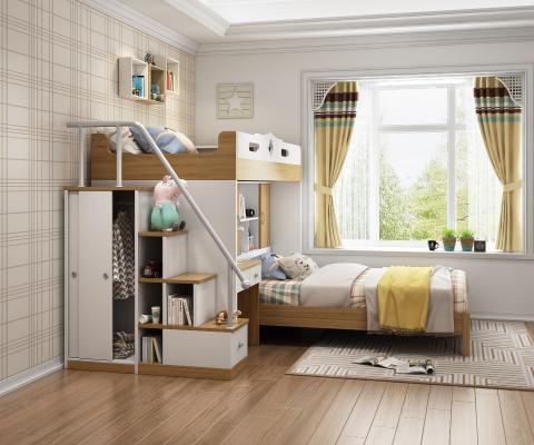 现代卧室儿童上下床