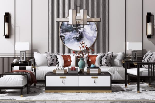 新中式沙发茶几组合 吊灯 边几台灯
