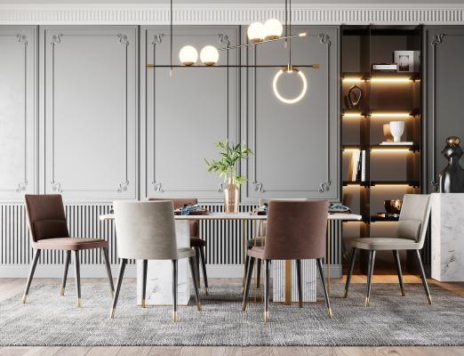 現代輕奢餐桌椅組合