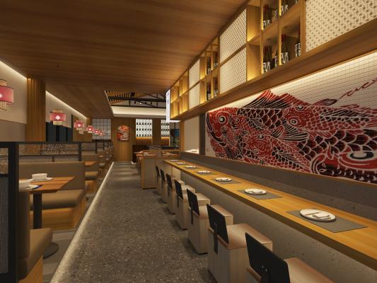 日式餐厅 吊灯 挂画